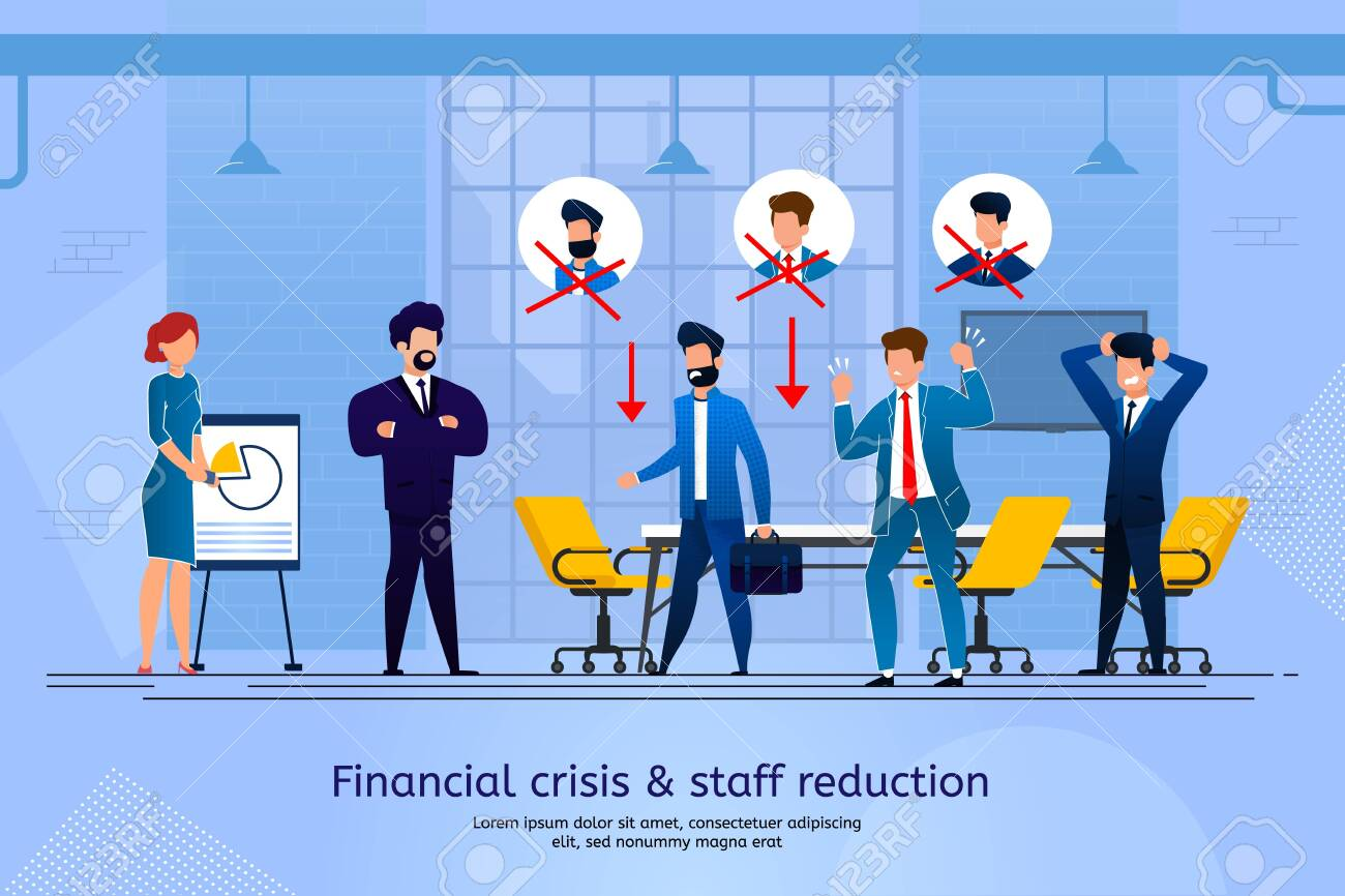 Financial Crisis and Staff Reduction Trendy Flat Vector Banner, Poster Template. Business Leader, Boss Telling Company Employees About Layoff. Office Workers in Panic Because of Job Lose Illustration - 145549497