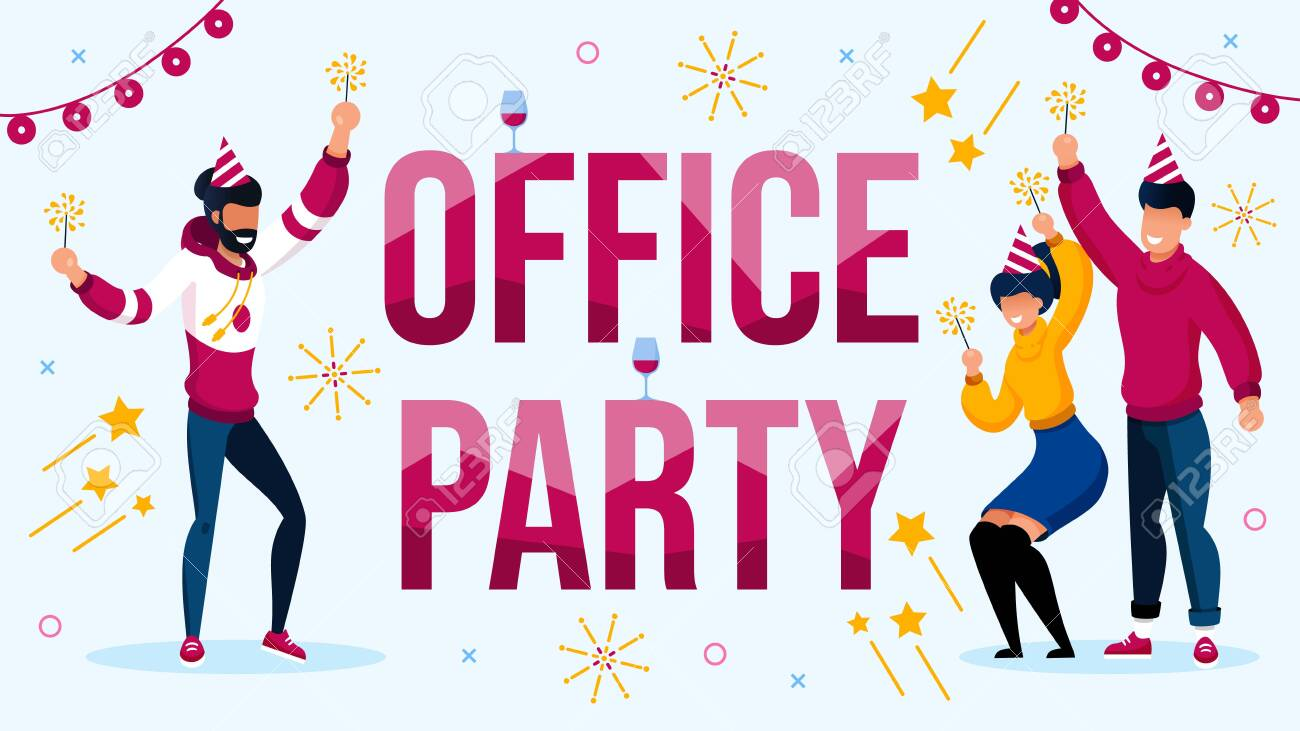 Office Party Celebration with Colleague Invitation Poster. Happy Coworker wearing Cute Festive Hat with Sparklers Having Fun, Dancing. New Year, Xmas or Birthday Celebration Vector Illustration - 145549510