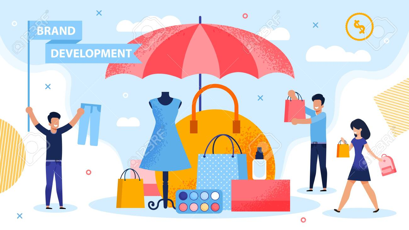 Brand Development and Piracy Protection Metaphor. People Carrying Shopping Bag and Putting Product under Parasol. Marketer Holding Flag with Promoting Lettering. Fashion Woman Goods Security - 145549511