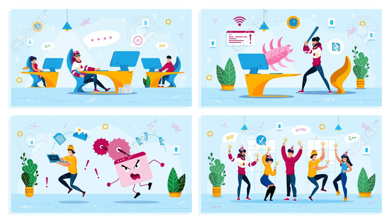 Employees Motivation, Internet Threat, Corporate Party Trendy Flat Vector Concepts Set. Procrastinating Programmer, User Fighting with Bug, Rescuing Computer from Virus, Dancing Coworkers Illustration - 145549514