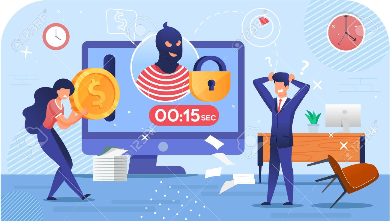 Cyber Attack Crime. Cryptocurrency Stealing Riskiness. Mining Virus. Hacker Burglar Avatar on Computer Monitor, Countdown Timer, Closed Lock. Woman and Businessman Trader in Despair. Security Hacking - 145310503