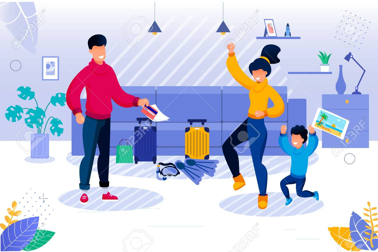 Parent and Kid Going for Travel. Happy Mother and Son Rejoicing. Father Getting Ticket. Tropical Resort Tour Preparation. Living Room Interior with Baggage and Diving Equipment Vector Illustration - 145549524