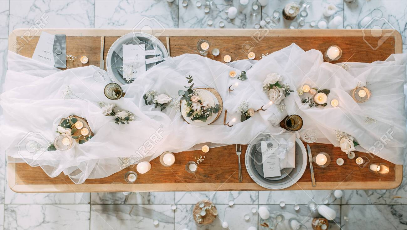 Autumn Decor With Fabric And Dried Flowers Wedding In The Style Stock Photo Picture And Royalty Free Image Image 147973859