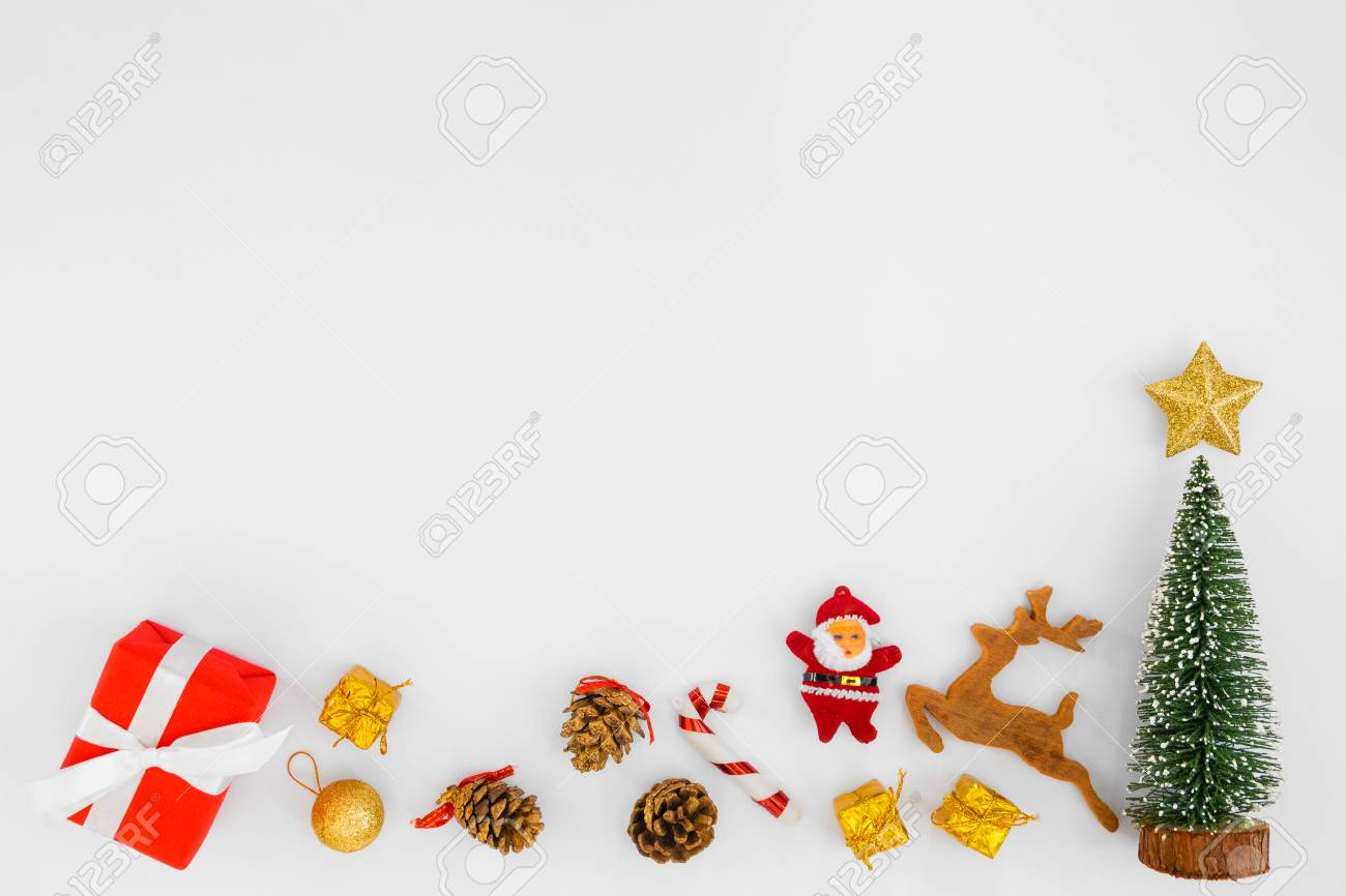 christmas composition christmas gift boxes and decorations on white background crative flat lay