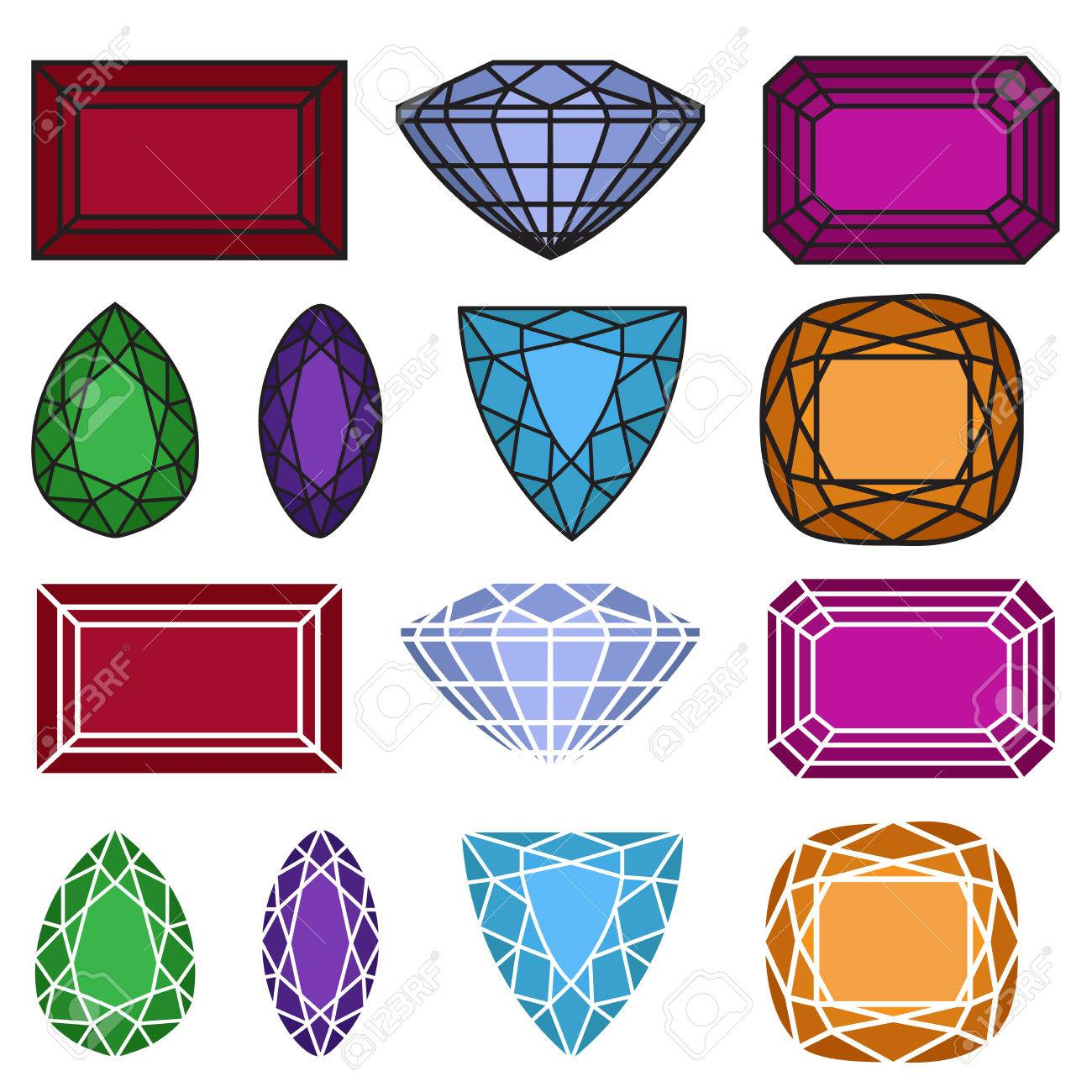 66cd52fbece3 Gemas. ilustración vectorial de piedras preciosas joyas conjunto.