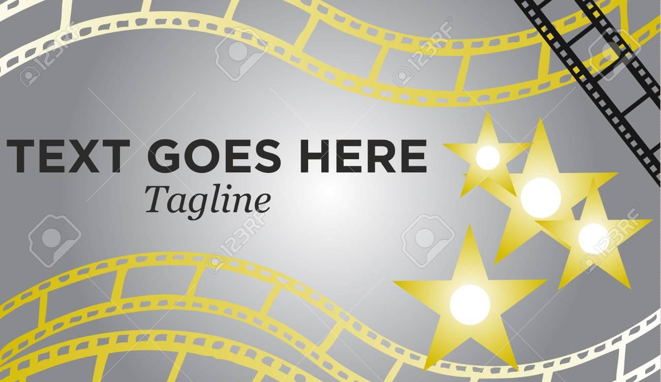 Movie Reel Stars Banner Background Vector Illustration Stock