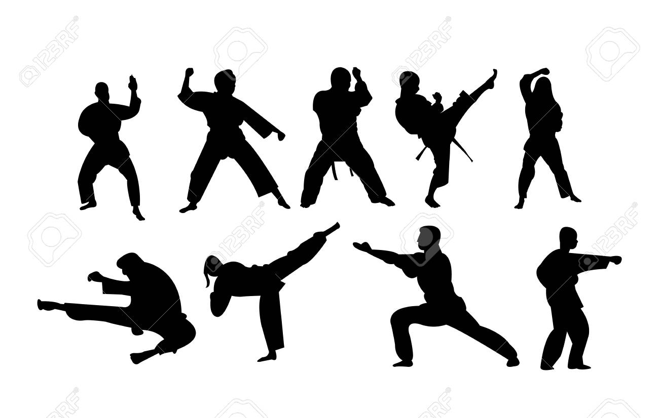 Karate Stances Punches And Kicks Illustration Royalty Free Cliparts Vectors And Stock Illustration Image 101188053