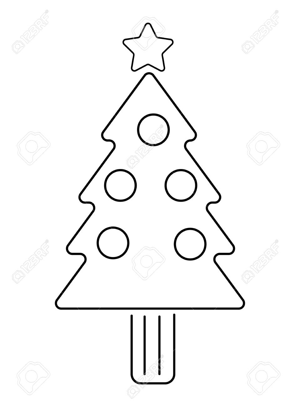 Simple Christmas Tree Outline On White Background Stock Photo Picture And Royalty Free Image Image 120076695