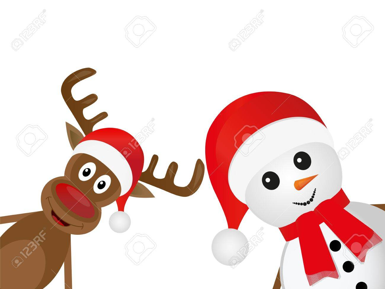 Christmas deer and snowman on a white background Stock Vector - 16497371
