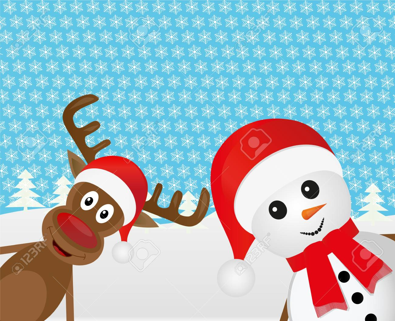 Snowman and Christmas reindeer peeking out of the woods Stock Vector - 16497388
