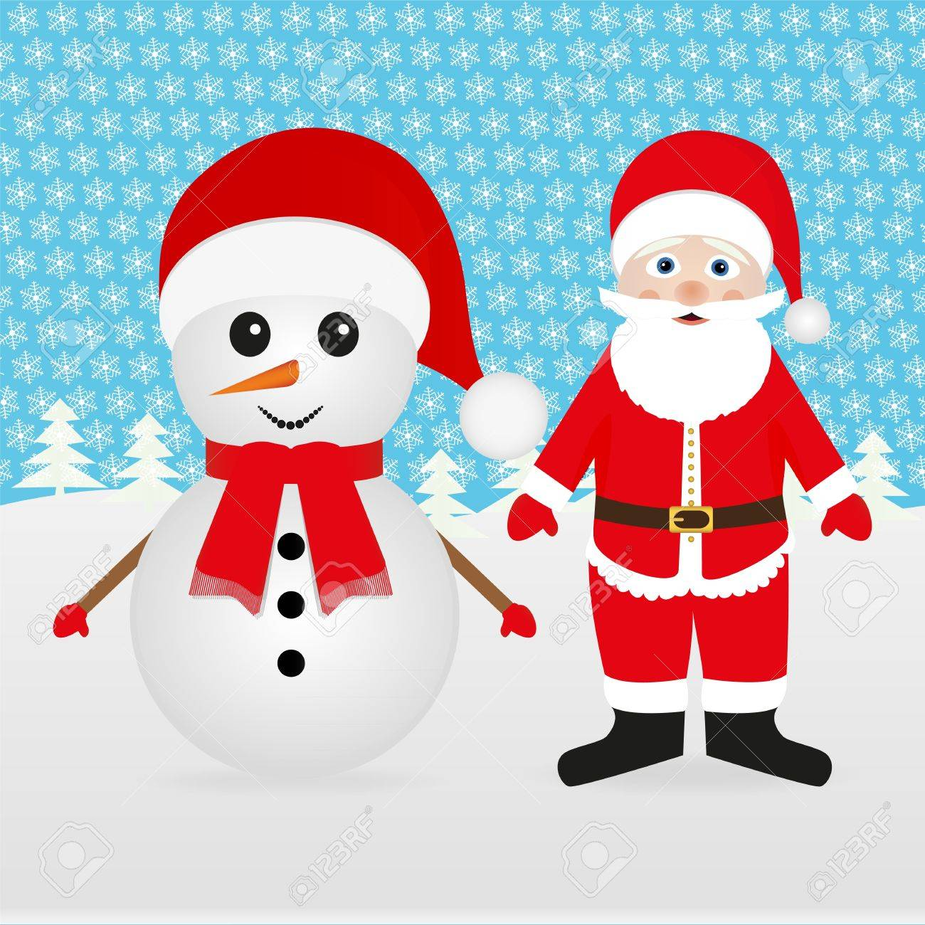 Snowman and Santa Claus peeking out of the woods Stock Vector - 16497392
