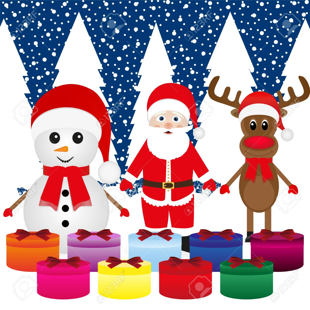Snowman, Santa Claus, reindeer and present Stock Vector - 16973718