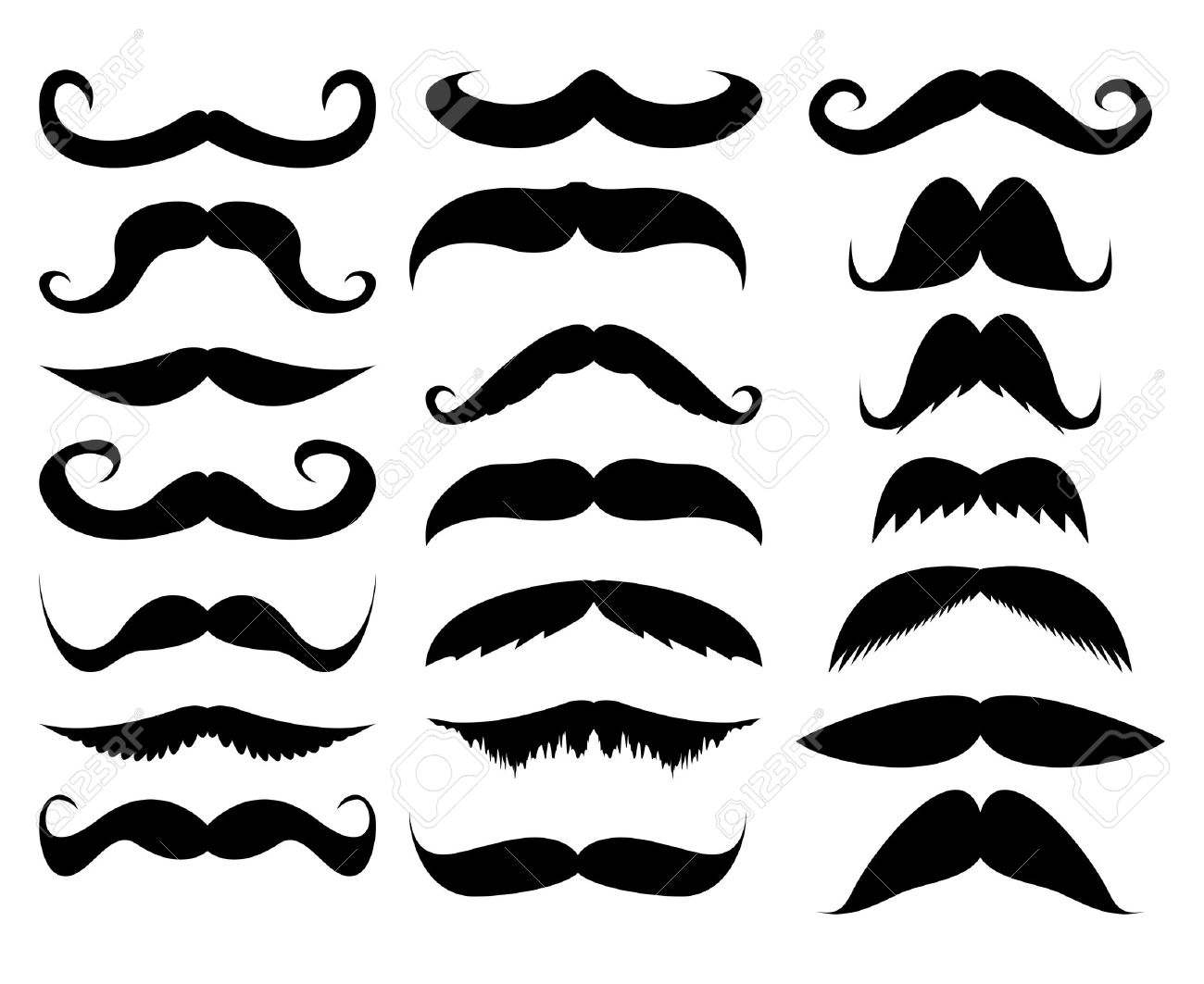 mustache in a set on a white background - 17140310