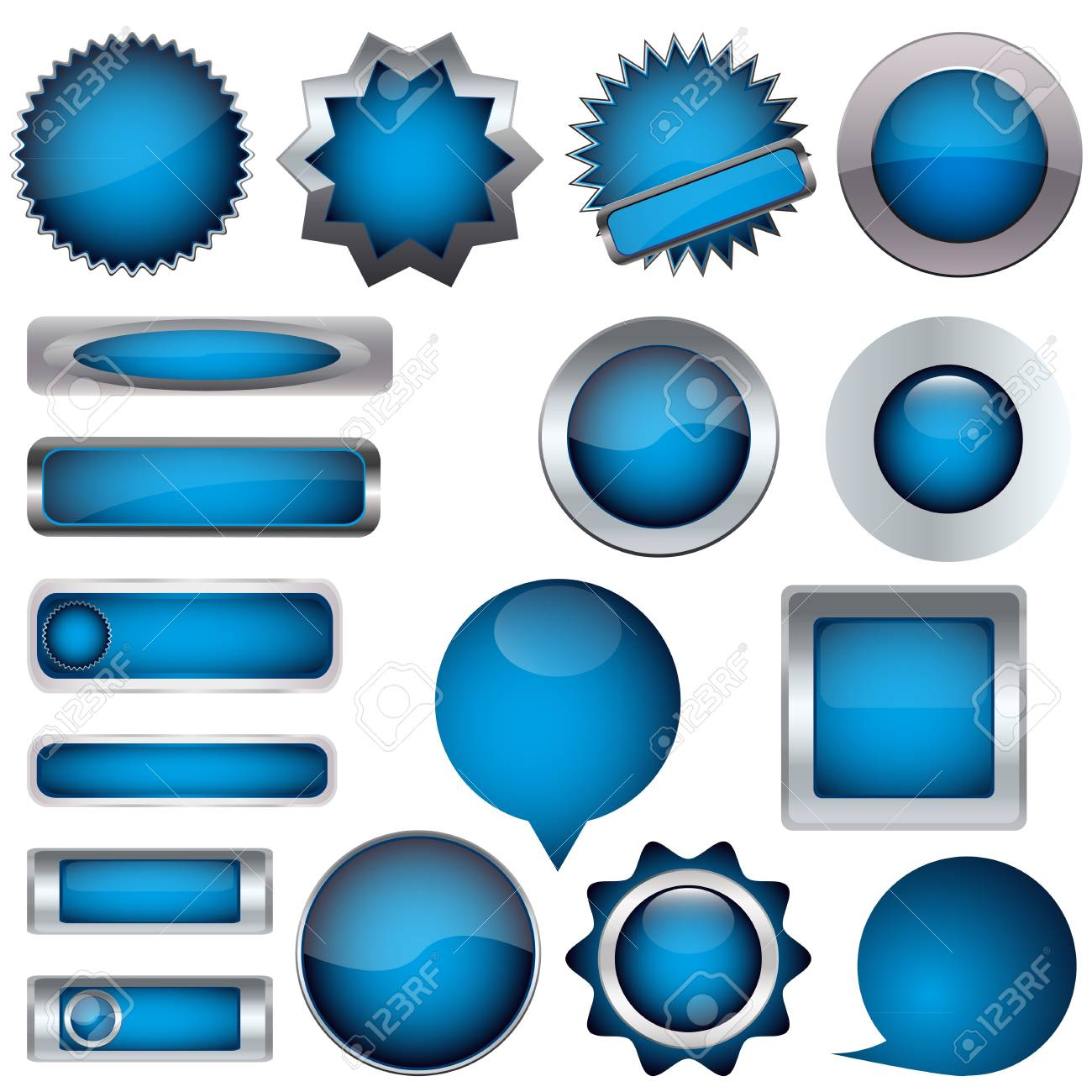 set of blue buttons Stock Vector - 17140501