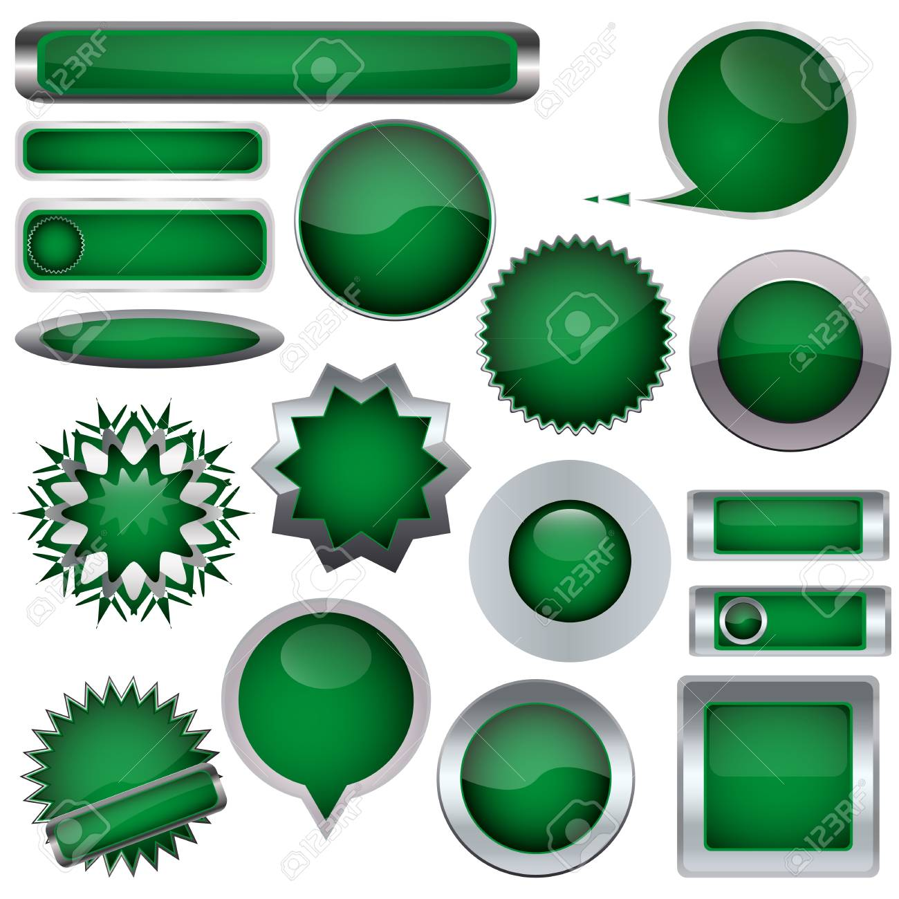 set of green buttons Stock Vector - 17140492