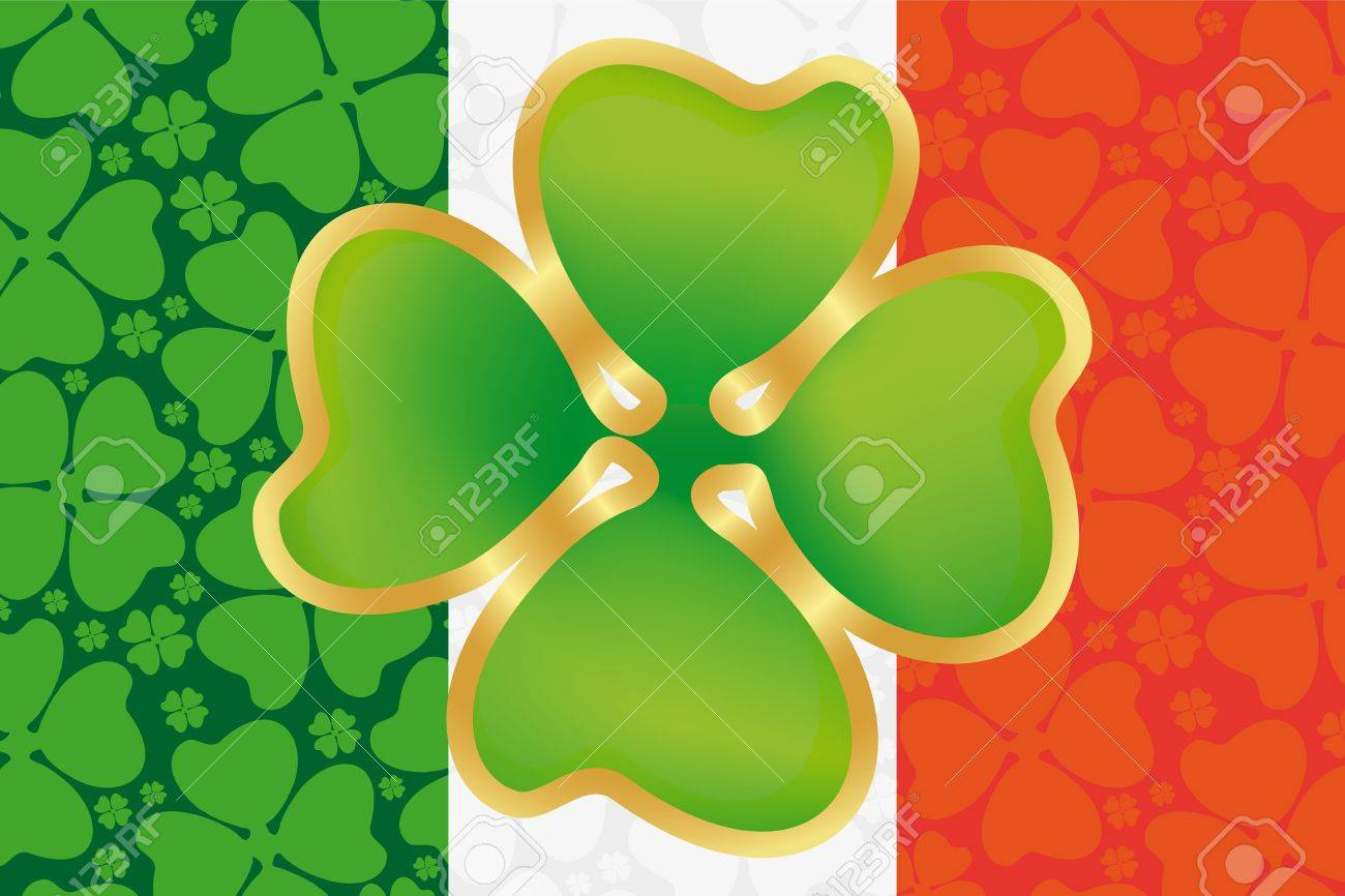 st patrick s day symbol on the flag of ireland royalty free