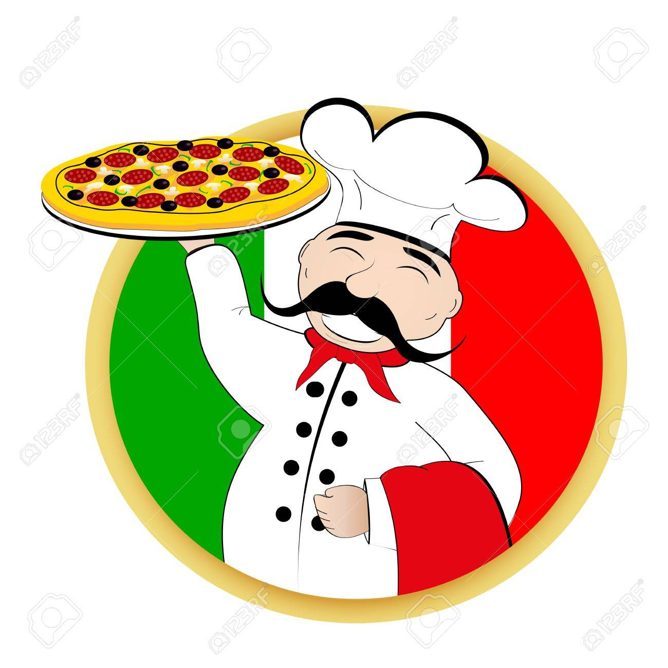 Chef pizza on background of the flag of Italy - 20243705