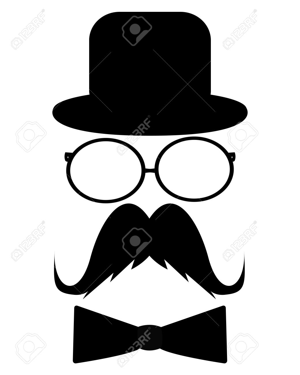 Mustache, hat, sunglasses and a butterfly Stock Vector - 20550357
