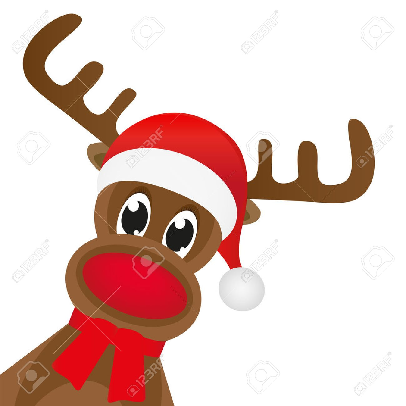 Christmas reindeer in a red scarf - 23648589