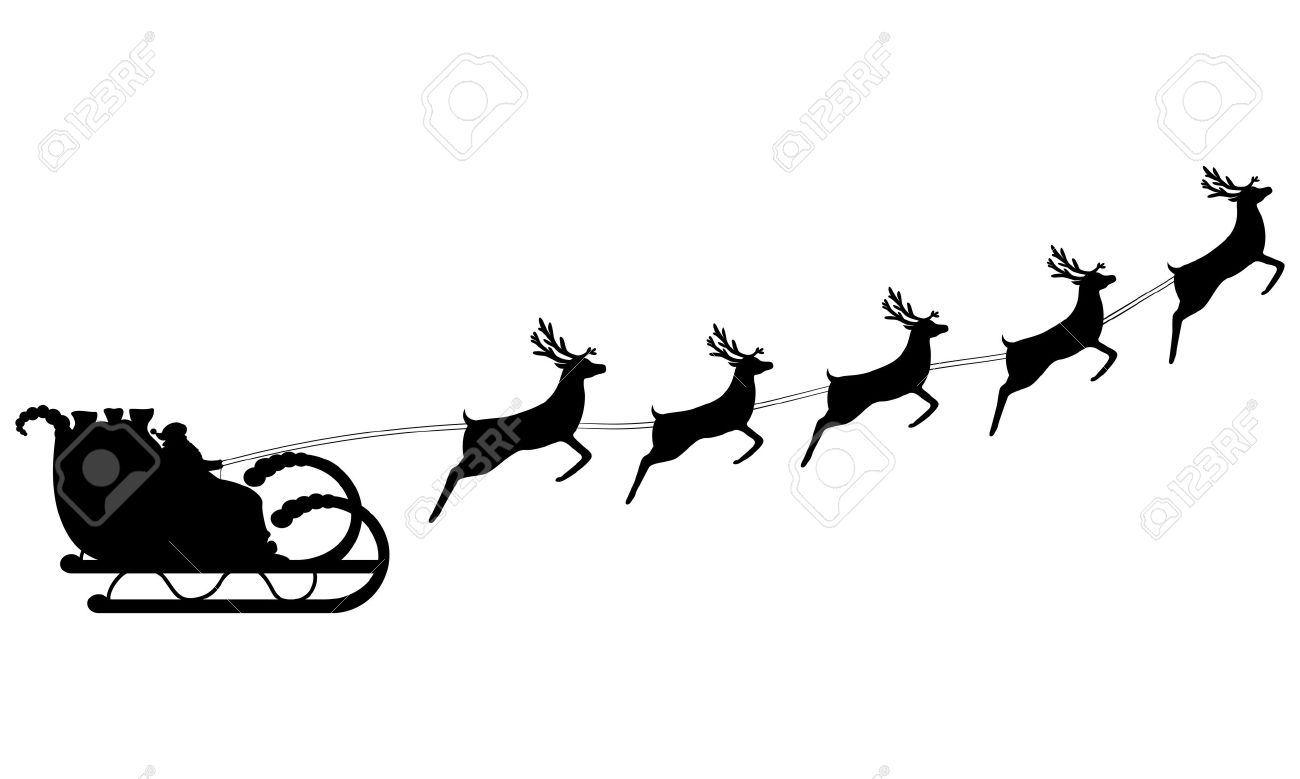 santa claus rides in a sleigh in harness on the reindeer royalty