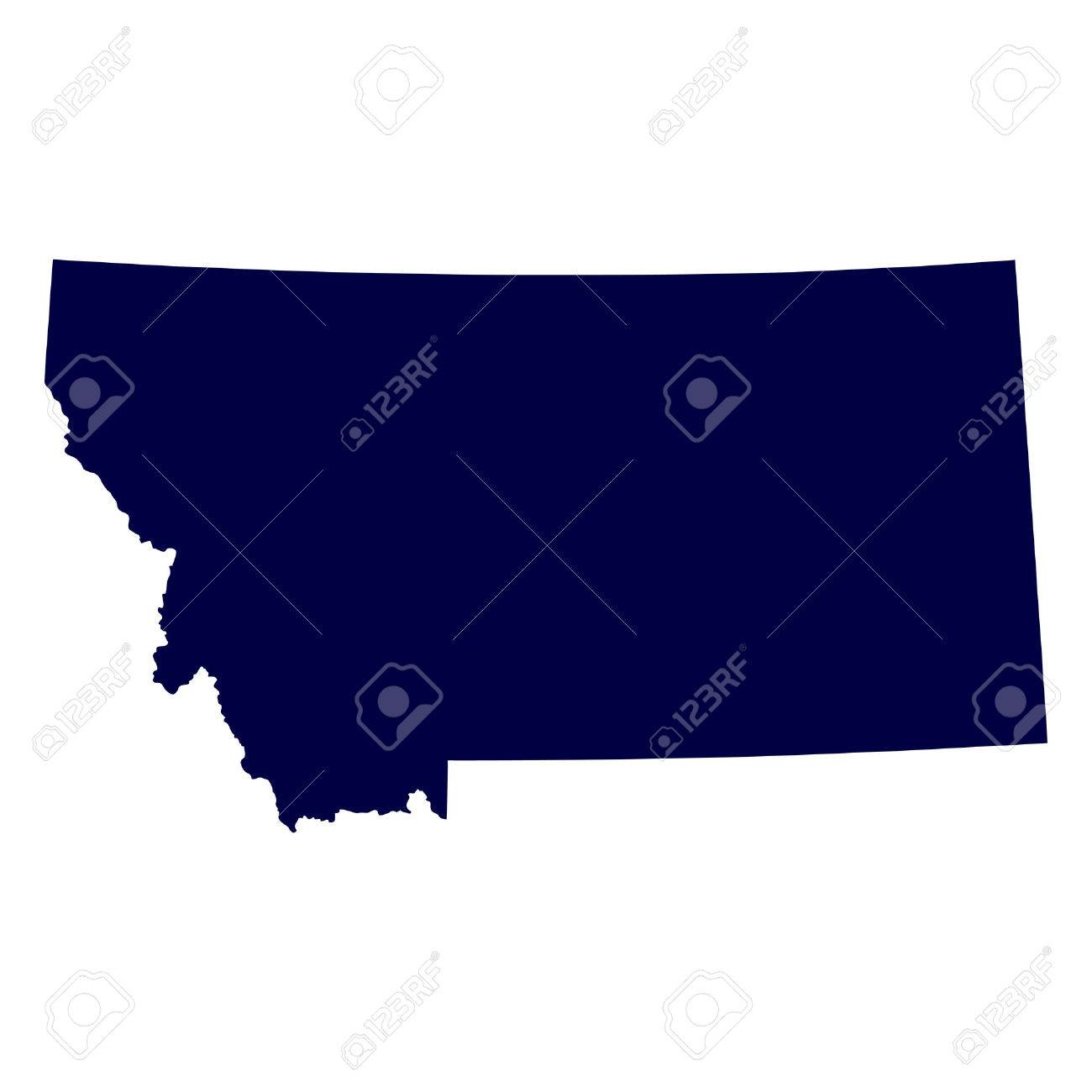 Map Of The U S State Of Montana Royalty Free Cliparts Vectors - Montana on us map