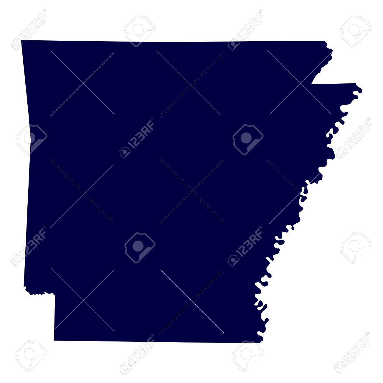Map Of The U S State Of Arkansas Royalty Free Cliparts Vectors - Arkansas map us