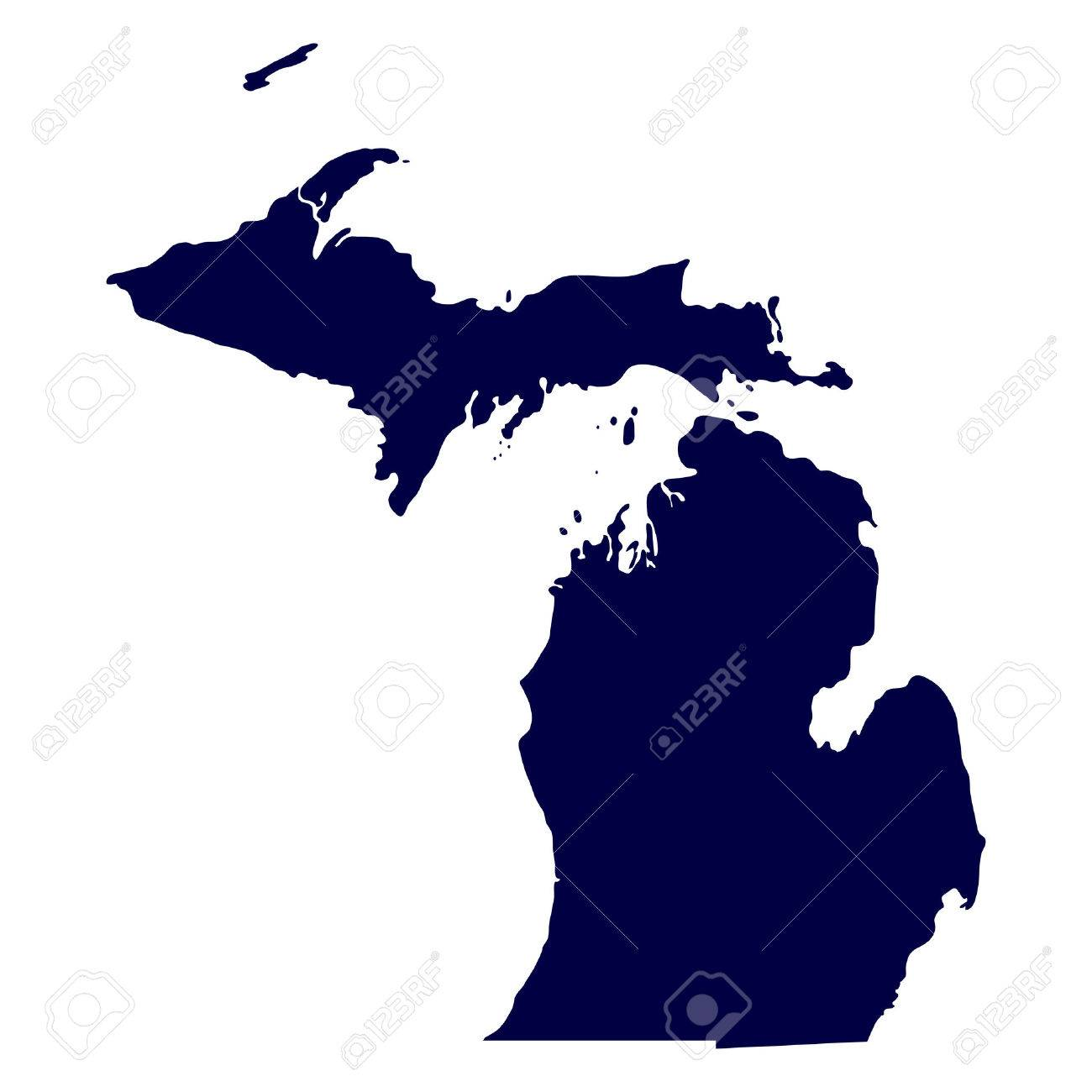 Map Of The U S State Of Michigan Royalty Free Cliparts Vectors - Map of us michigan