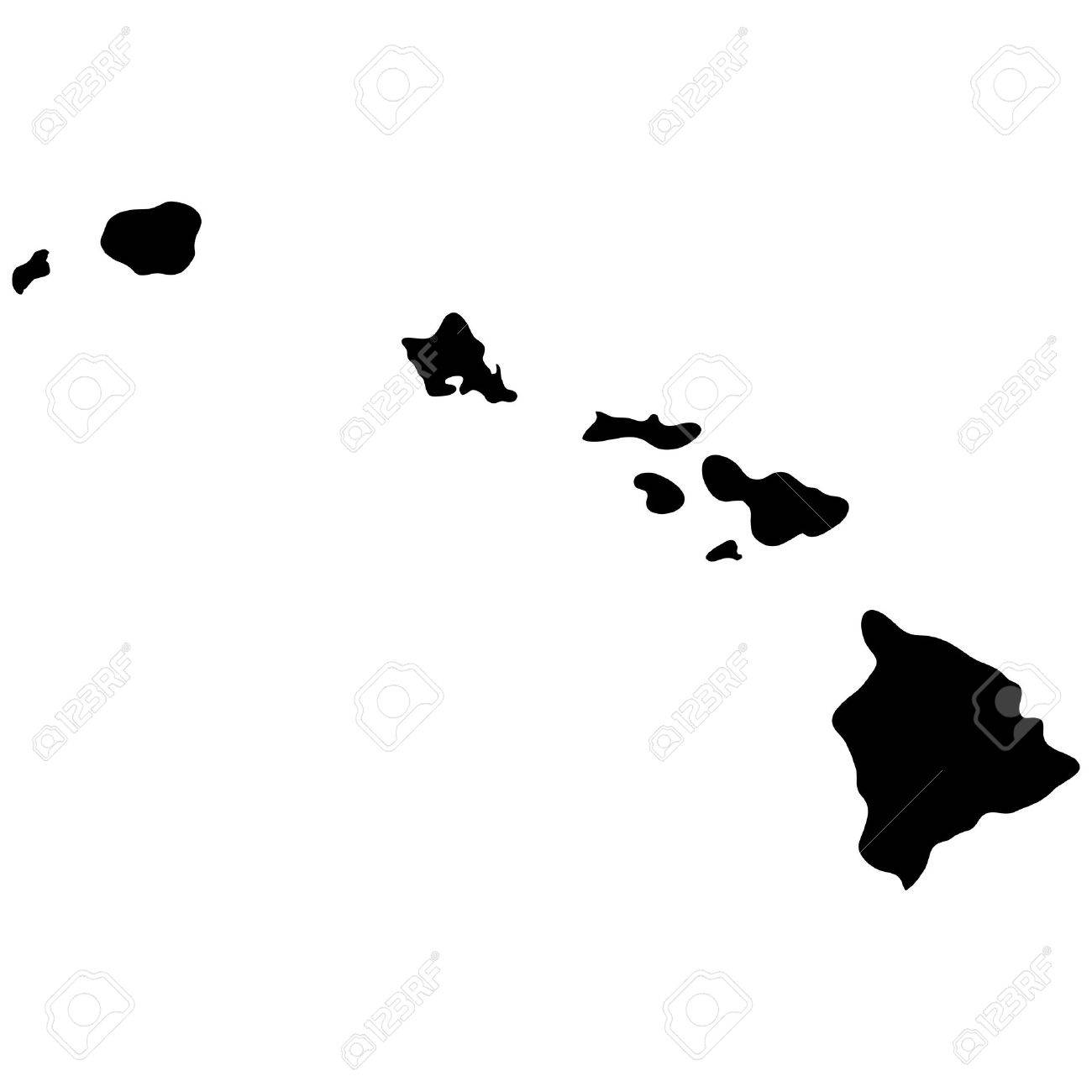 Map Of The US State Of Hawaii Royalty Free Cliparts Vectors