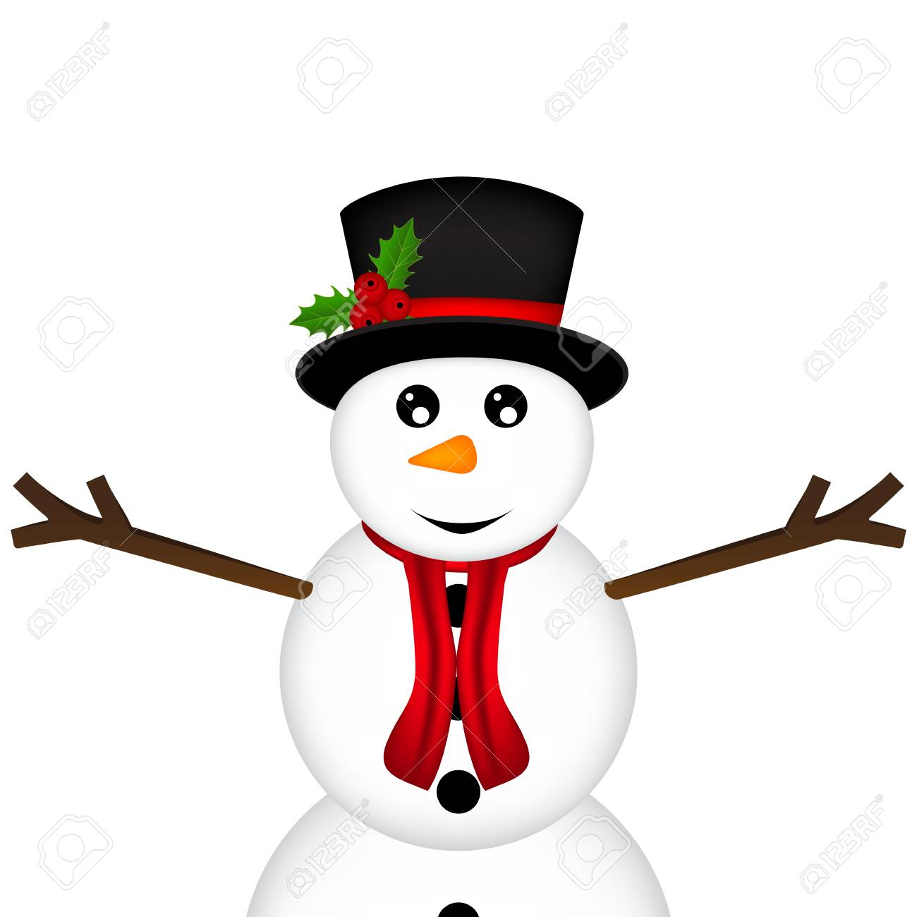 Weihnachten Schneemann Auf Weißem Hintergrund Lizenzfrei Nutzbare ...