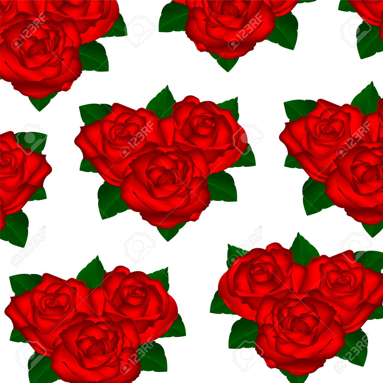 Wallpaper Red Roses On A White Background With Leaves Vector Royalty
