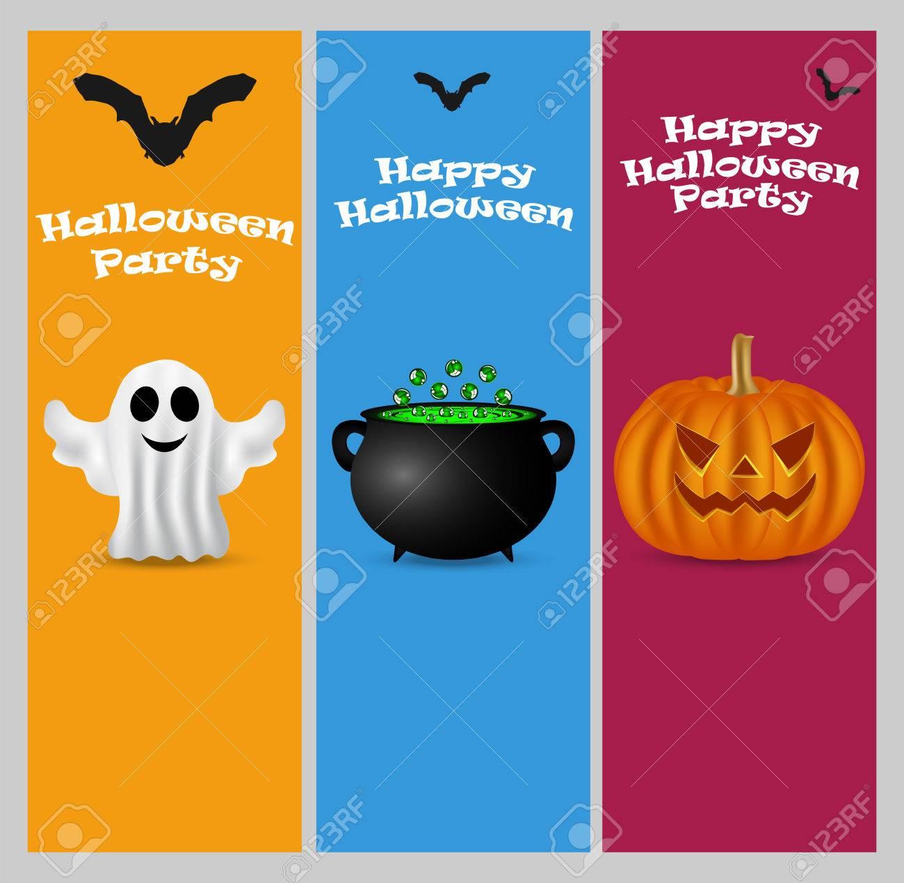 Einladung Zu Einer Halloween Party. Vertikale Banner Karten Set Grußkarte  Standard