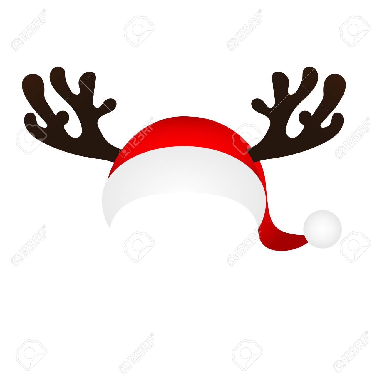 Vorlage Für Einen Spaßfoto Von Santa Claus Hut Und Horn Weihnachten