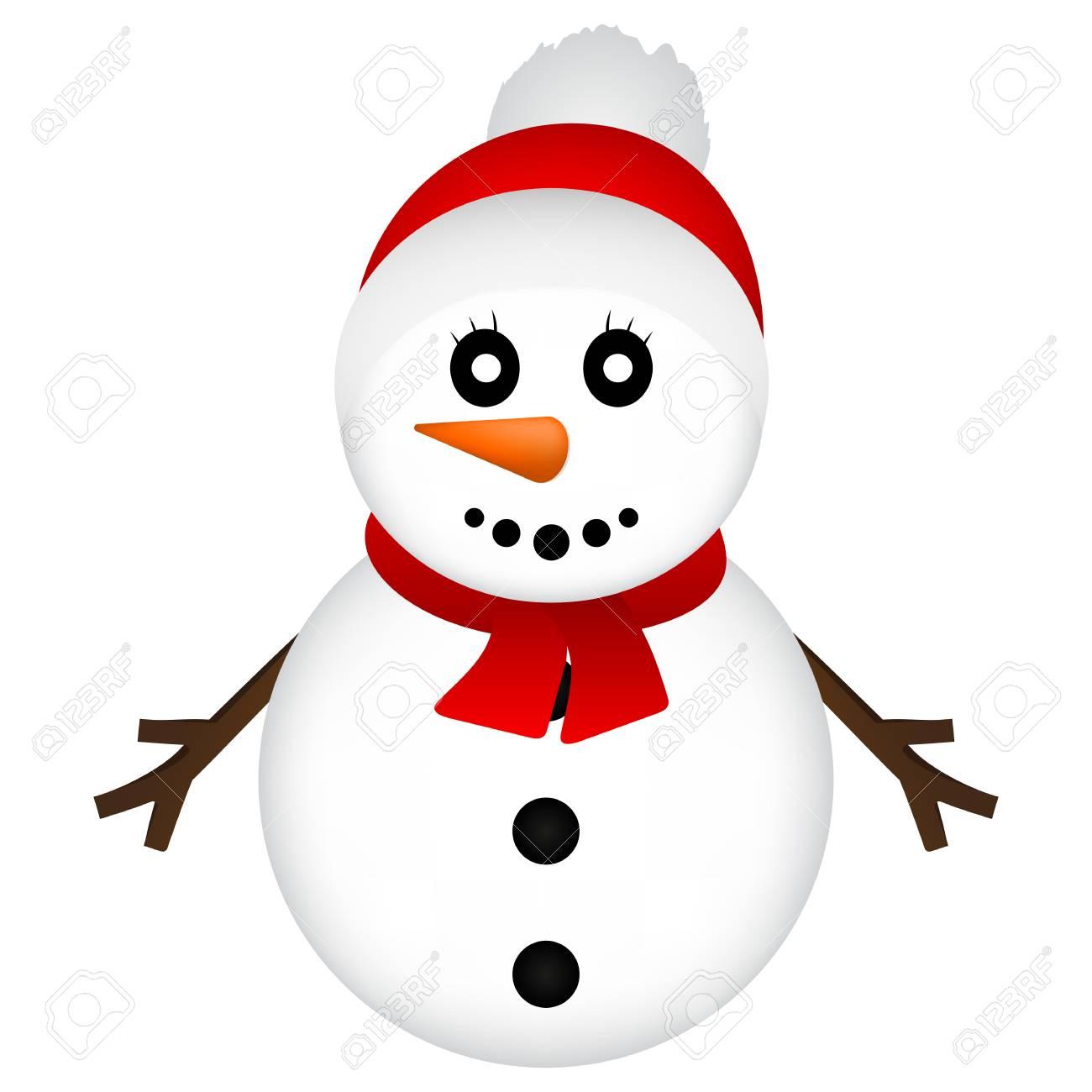 Weihnachten Schneemann Auf Weißem Hintergrund Vektor-Illustration ...