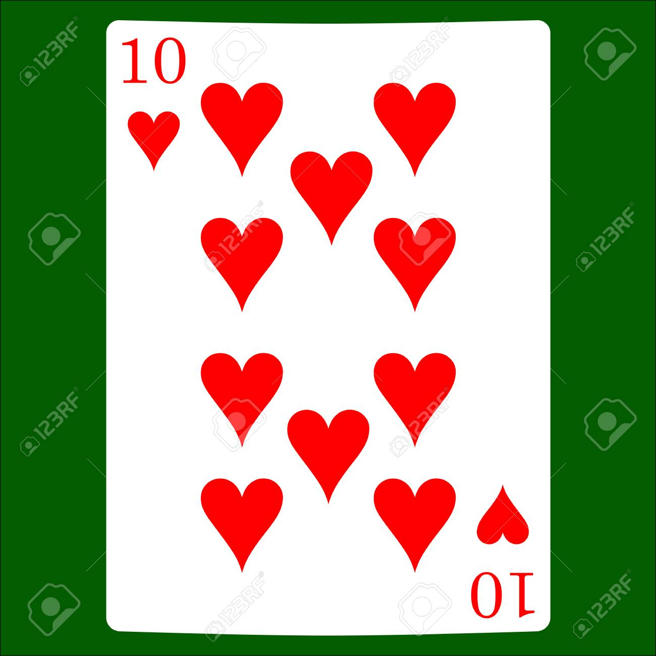 Ten Hearts Card Suit Icon Vector Playing Cards Symbols Vector