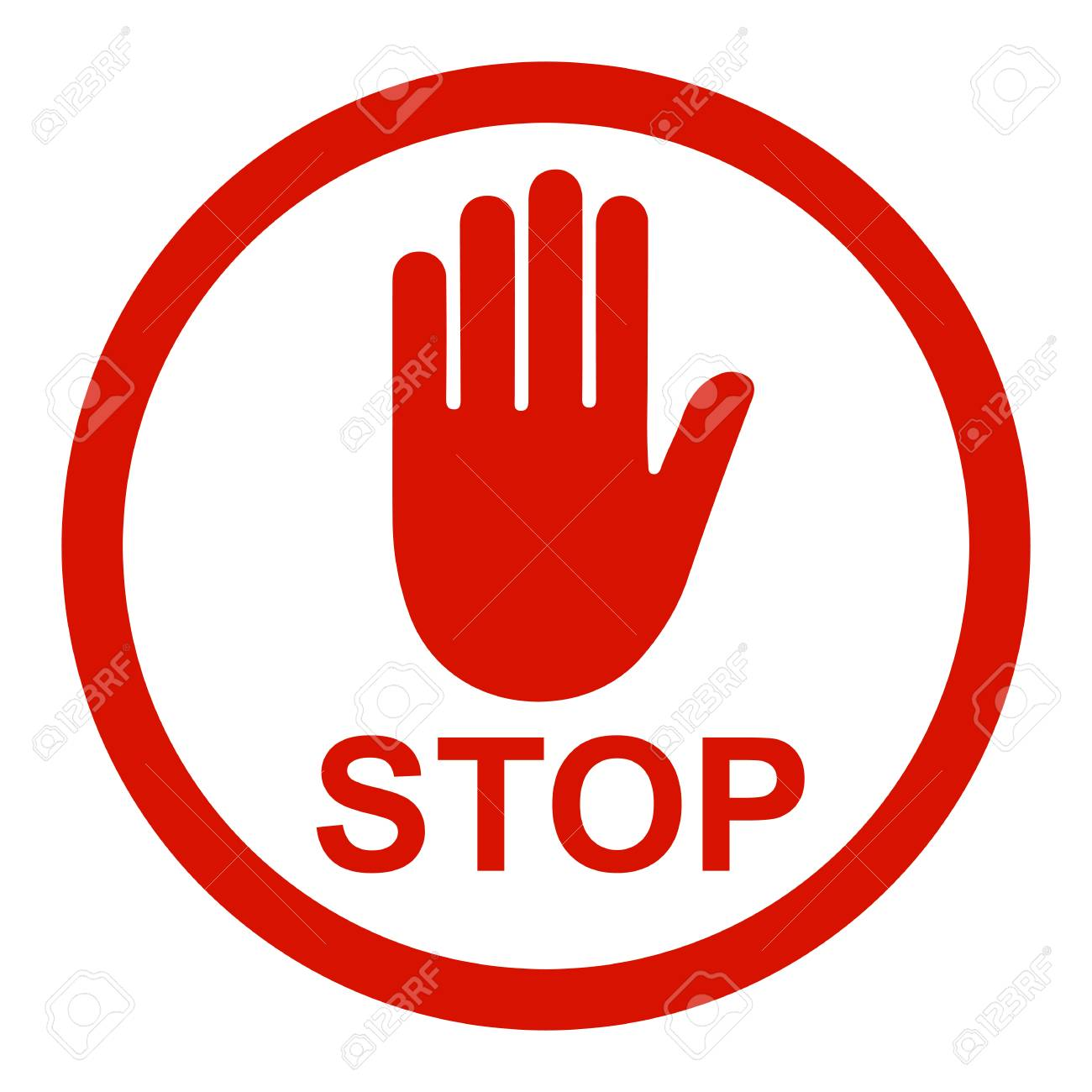 Stop sign icon with hand in circle - stock Vector illustration. - 99136954