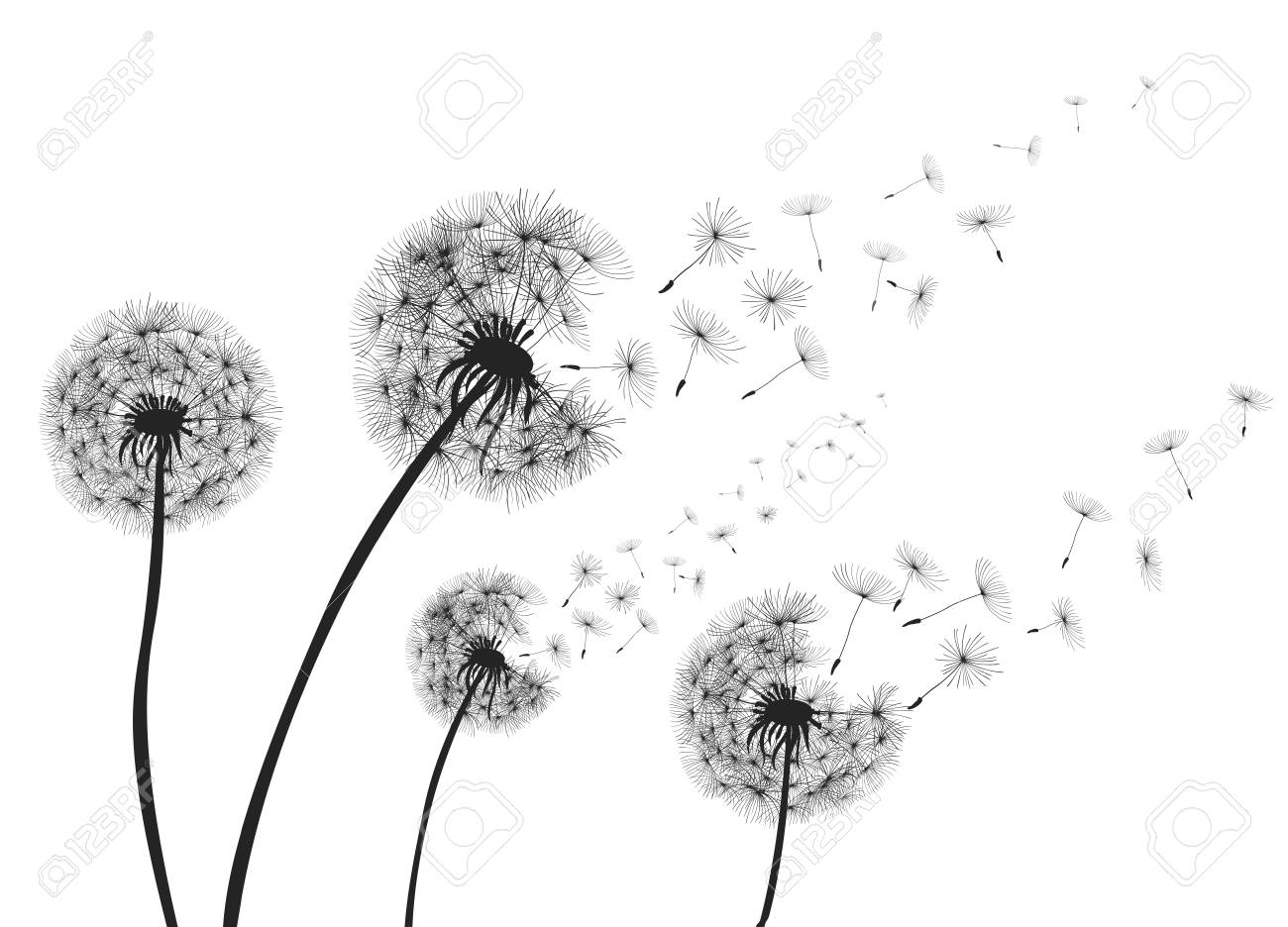 Abstract dandelions with flying seeds. - 99467257