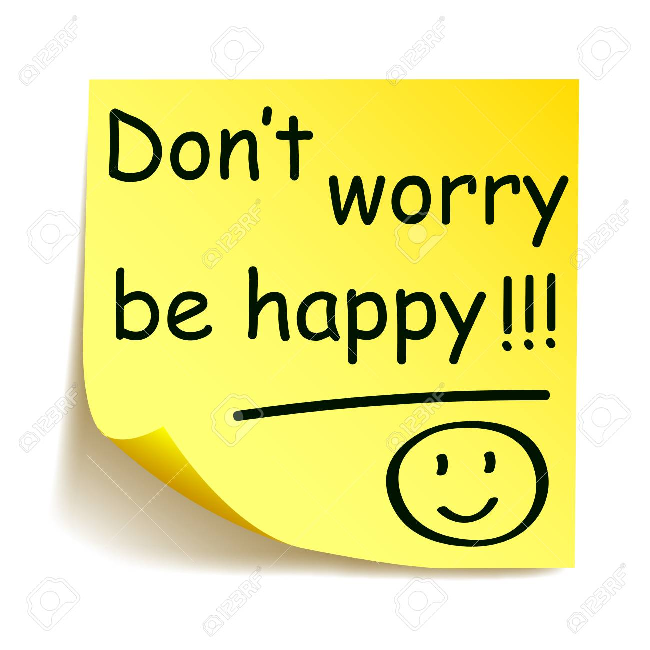 Vector yellow sticker with black postit dont worry be happy note hand written stock vector