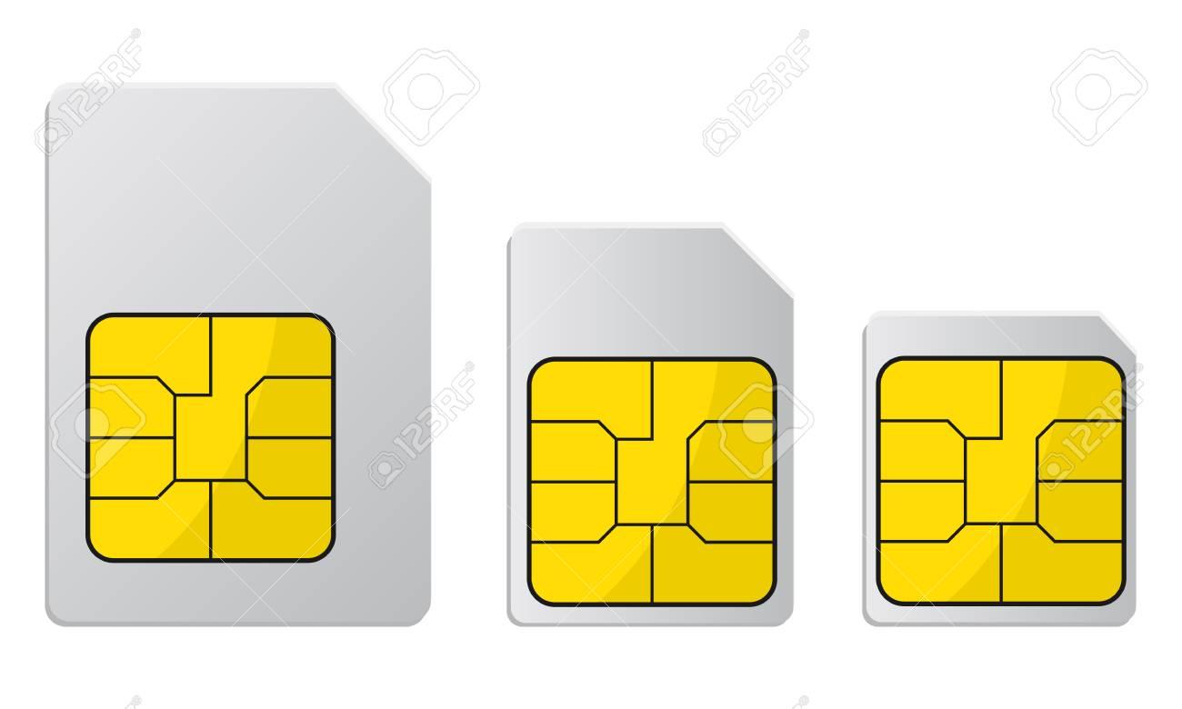 Carte Sim De Telephone Portable Carte Sim Standard Micro Et Nano Stock Vector Clip Art Libres De Droits Vecteurs Et Illustration Image 101788830