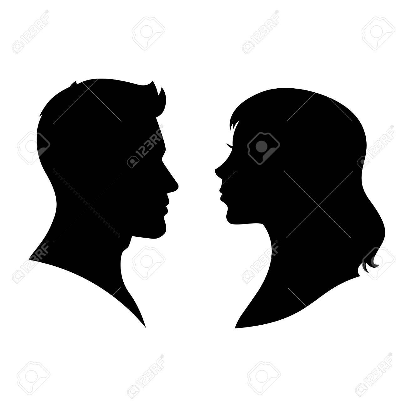 Man And Woman Silhouette Face To Face Vector Royalty Free Cliparts Vectors And Stock Illustration Image 102793688
