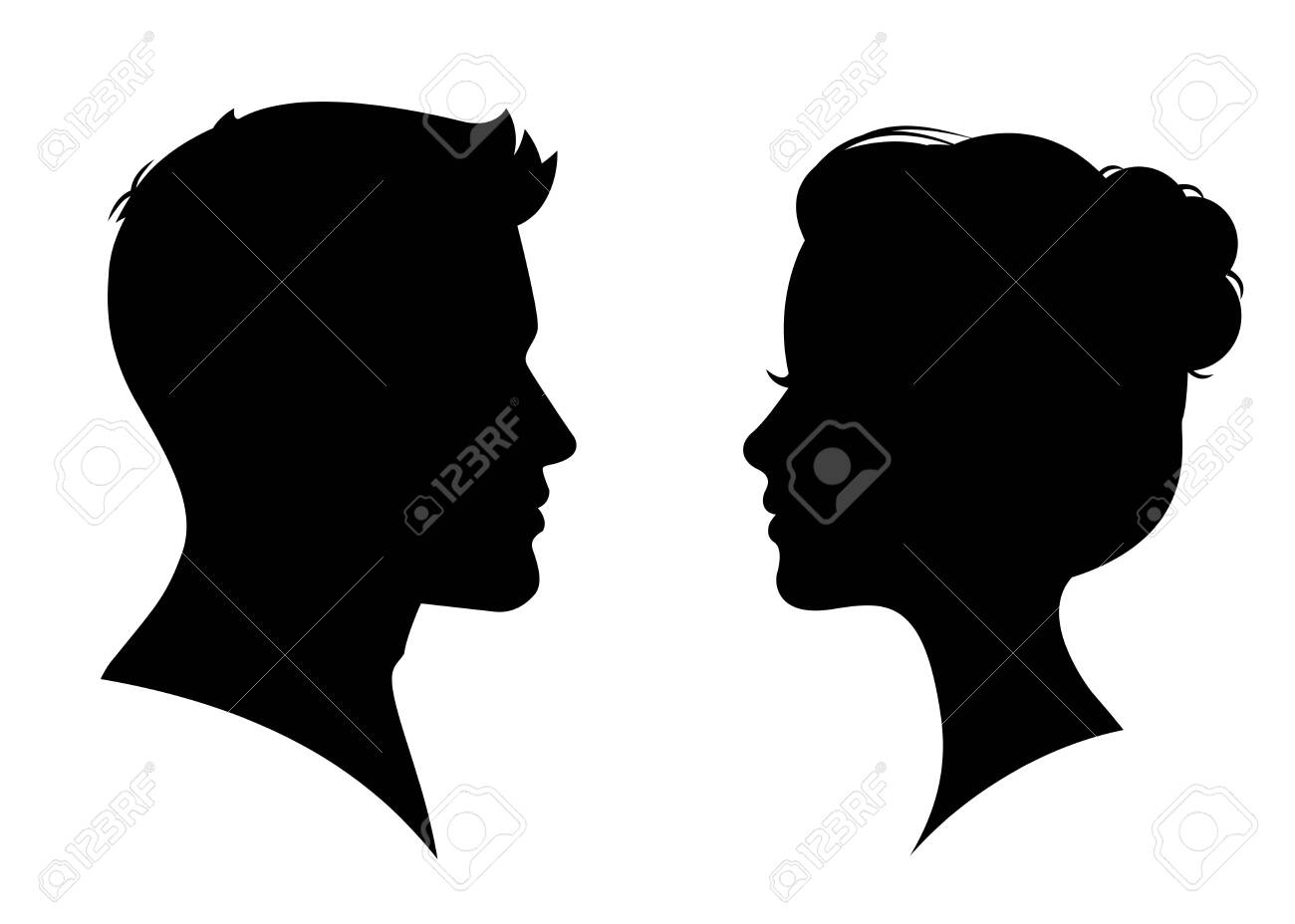 Man and woman silhouette face to face – vector - 149304899