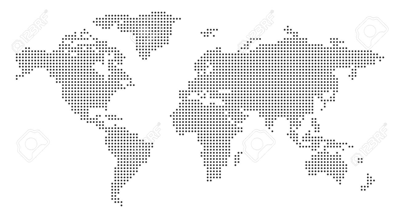 World Map with pixels - stock vector - 155106047