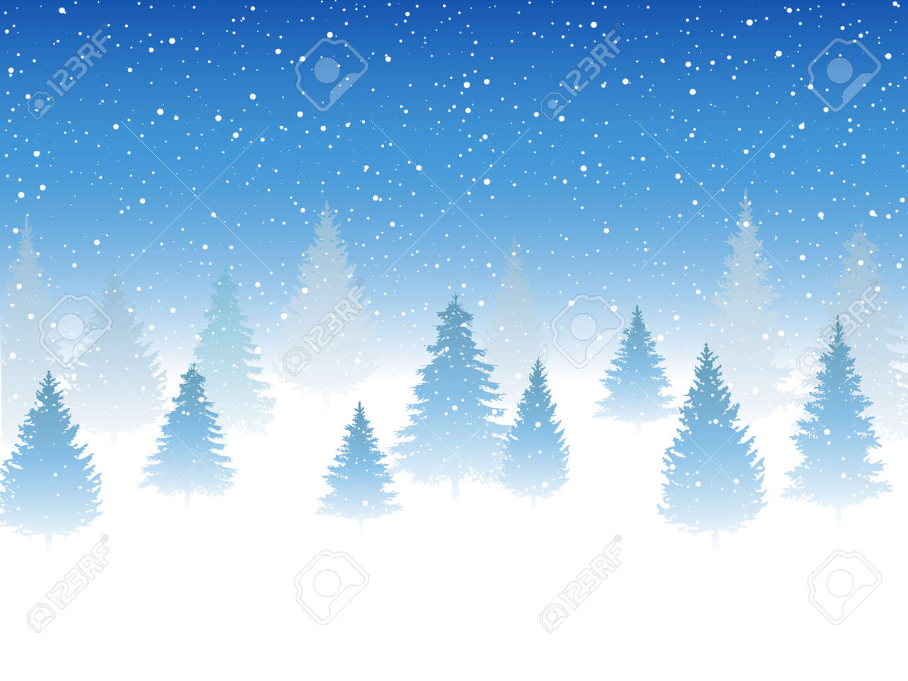 Snowfall and little snow with snow drifts and tree. Heavy snowfall, snowflakes in different shapes and forms. Sky clouds and snow winter. Frosty close-up wintry snowflakes - 158147619