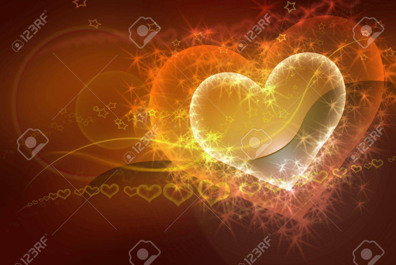sparkling heart - valentine conceptual yellow - orange - red abstract background Stock Photo - 5802549