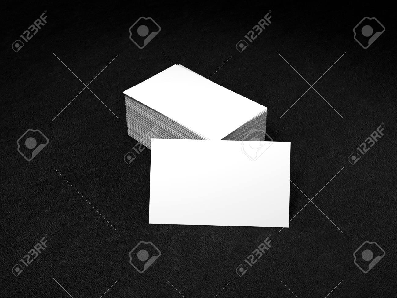 Pile De Blanc Cartes Visite Modele Namecards Maquette Sur Fond