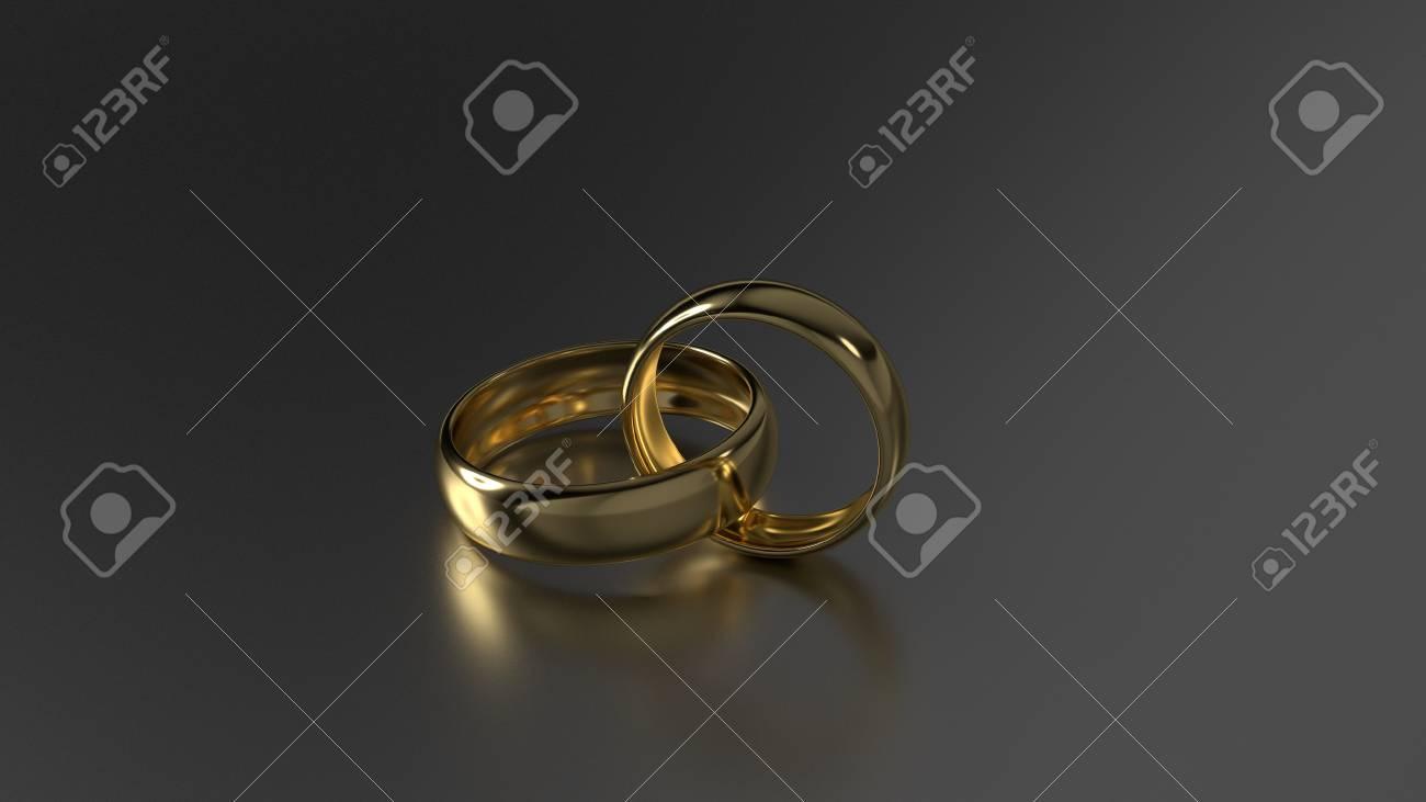 Couple De Beauté Anneaux De Mariage Dor Sur Fond Noir Rendu 3d