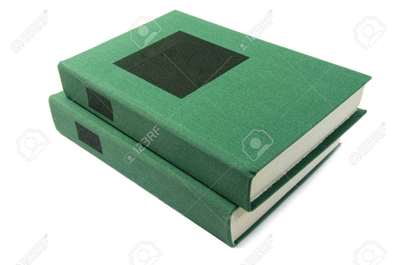 green books with black label, standing isolated on white background Stock Photo - 6390648