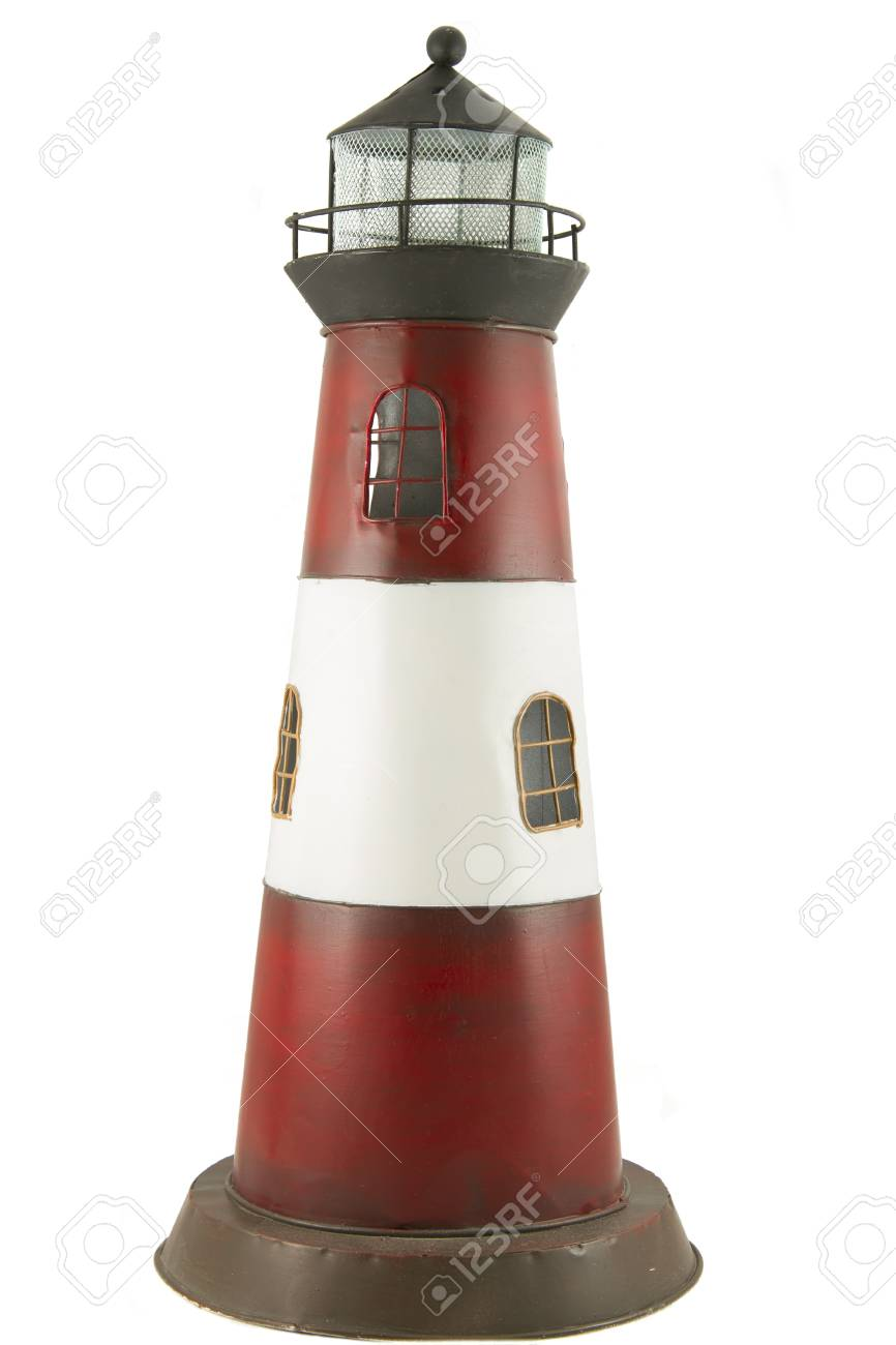 Metal Model Of Toy Lighthouse Isolated On White Background Stock Photo