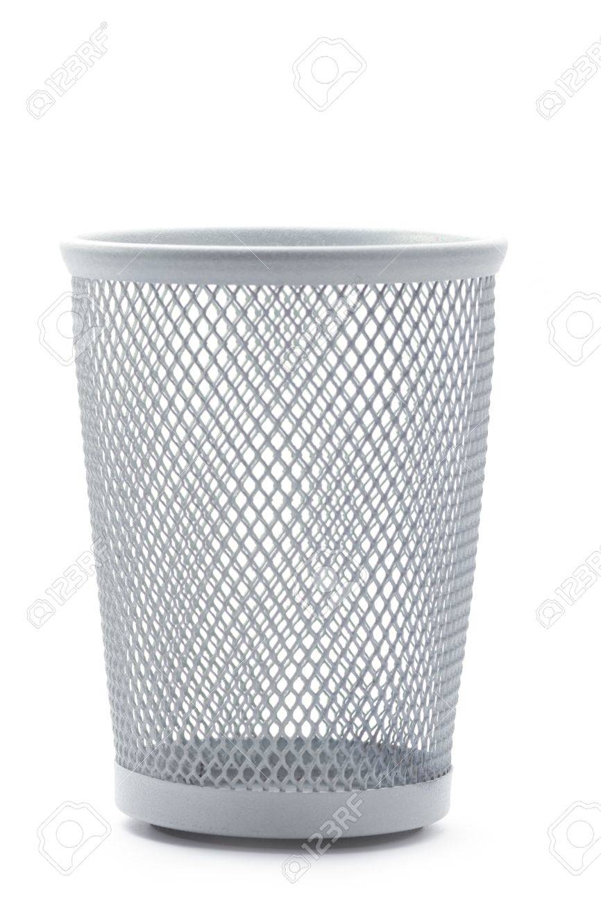 Wastepaper Basket Isolated Empty Metal Office Wastepaper Basket Stock Photo Picture