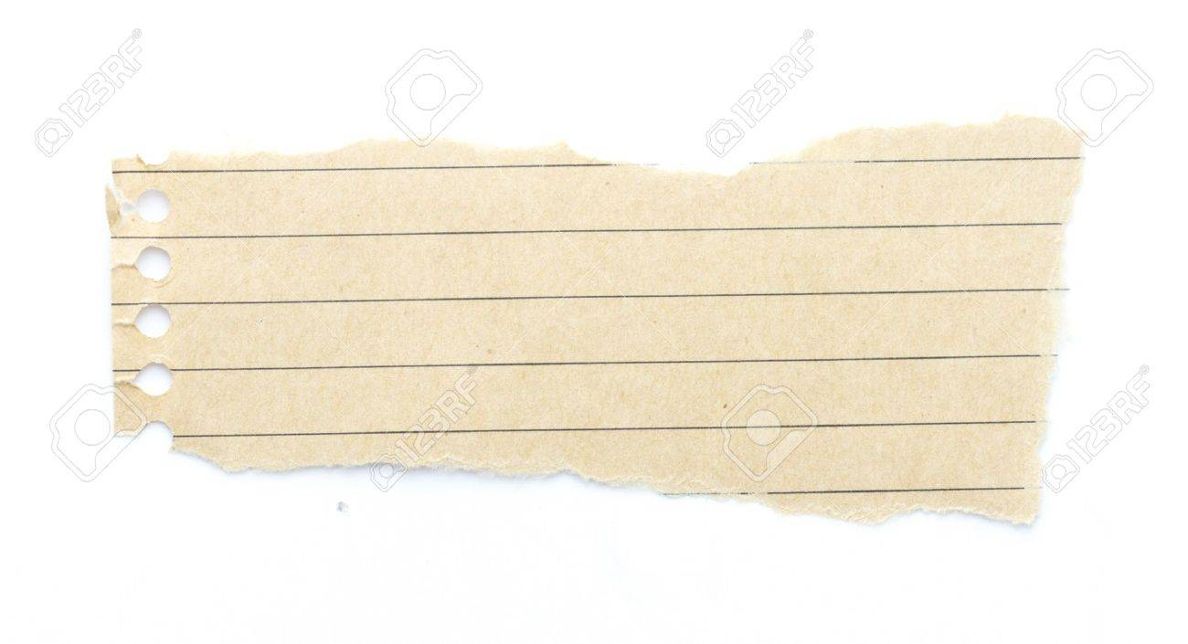 Recycling Brown Lined Paper Scrap Isolated On White Stock Photo