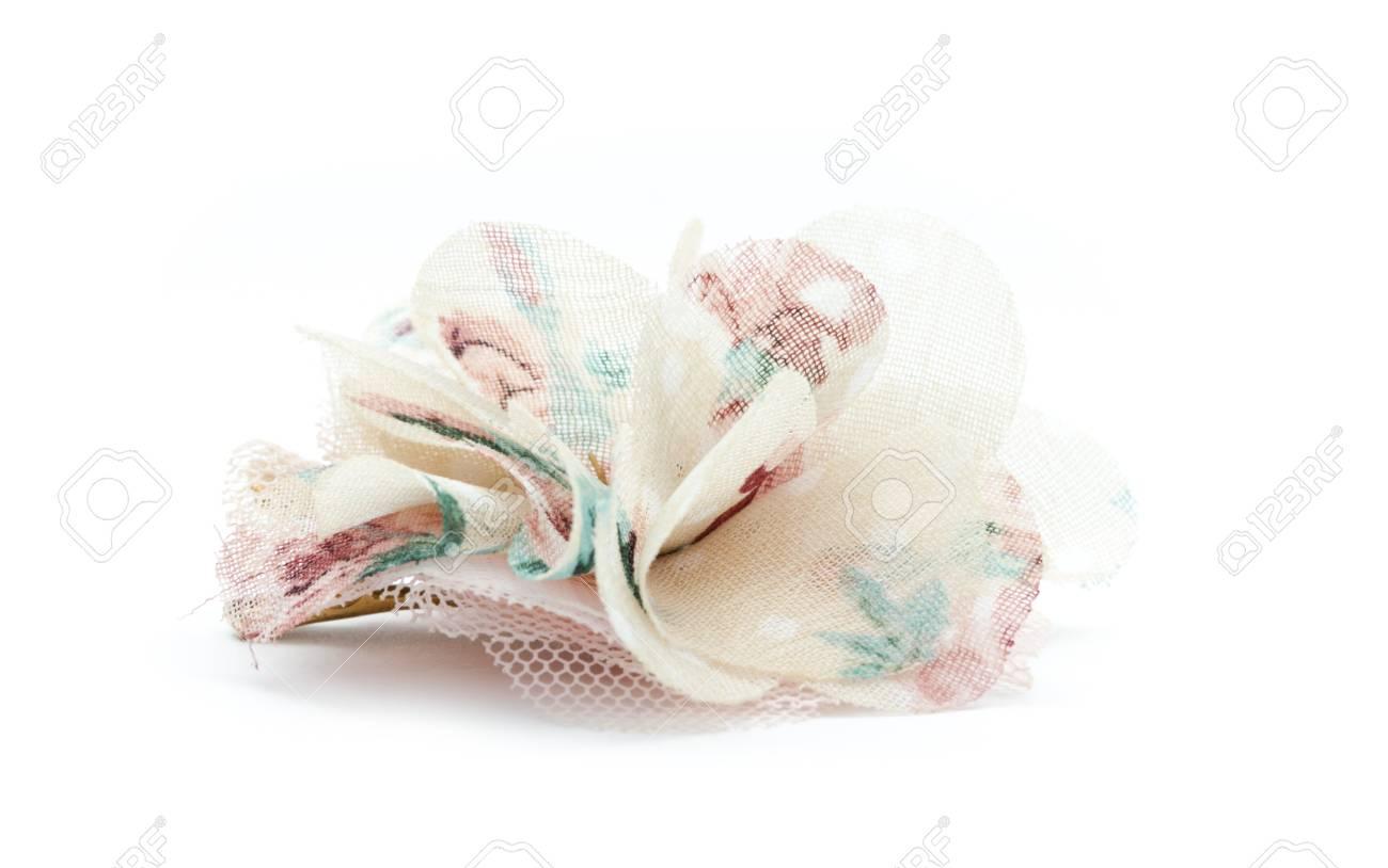 single fabric decorative flower isolated on white background Stock Photo - 18874881